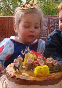 Tarta de cumpleaños de blancanieves