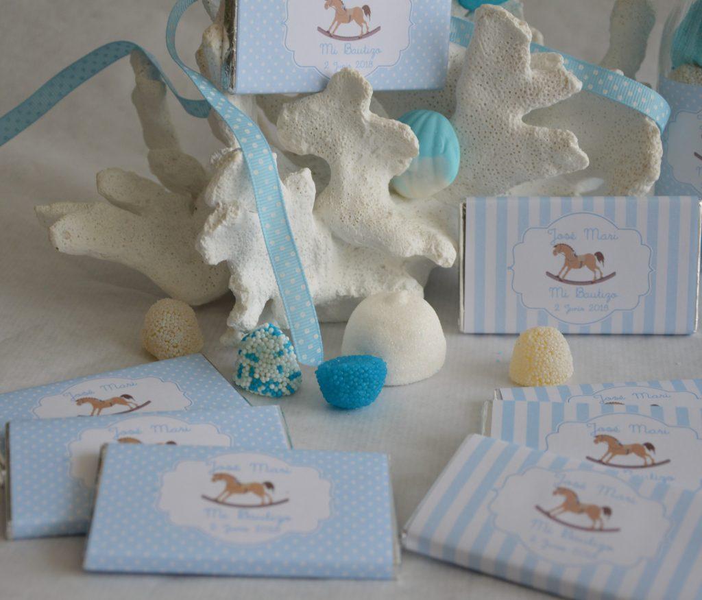 chocolatinas personalizadas bautizo bebe azul cielo