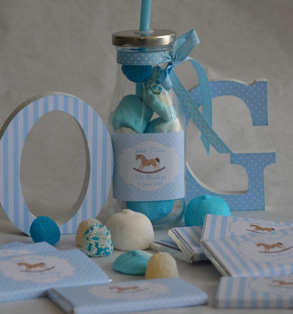 chocolatinas personalizadas bautizo bebe azul clarito