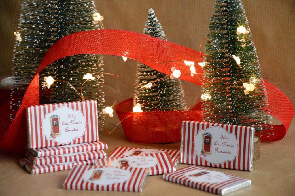 chocolatinas personalizadas navidad feliz año nuevo rojo