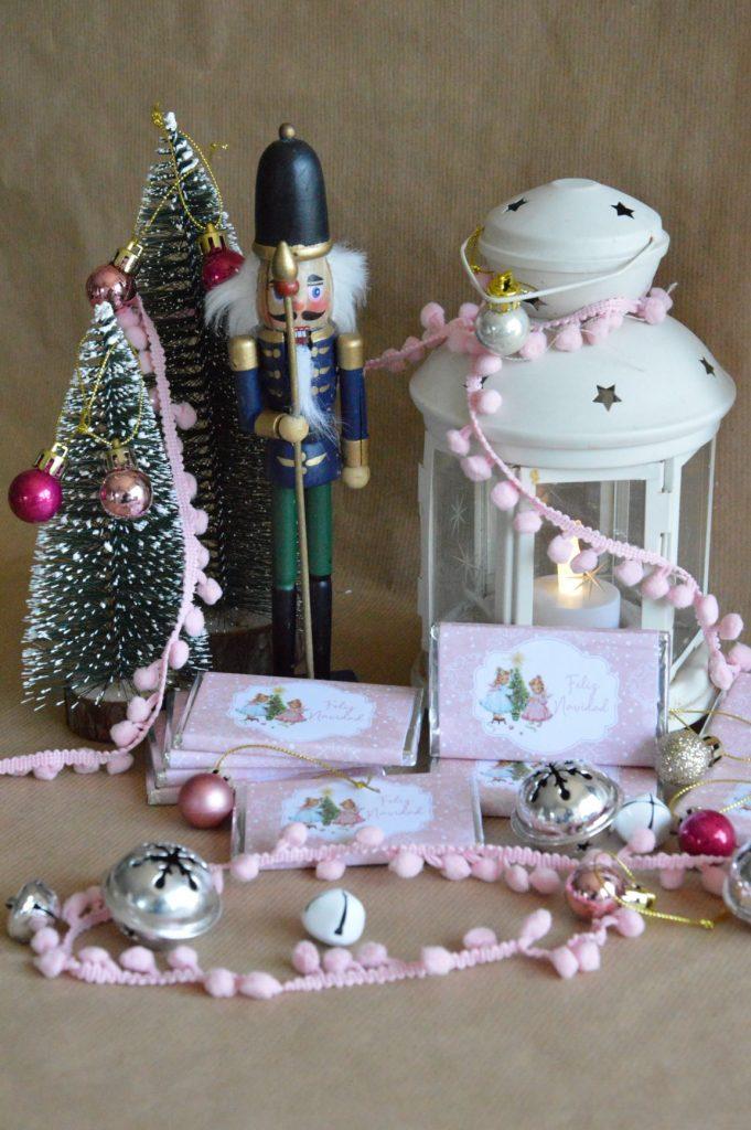 chocolatinas personalizadas navidad feliz año nuevo rosa vintage