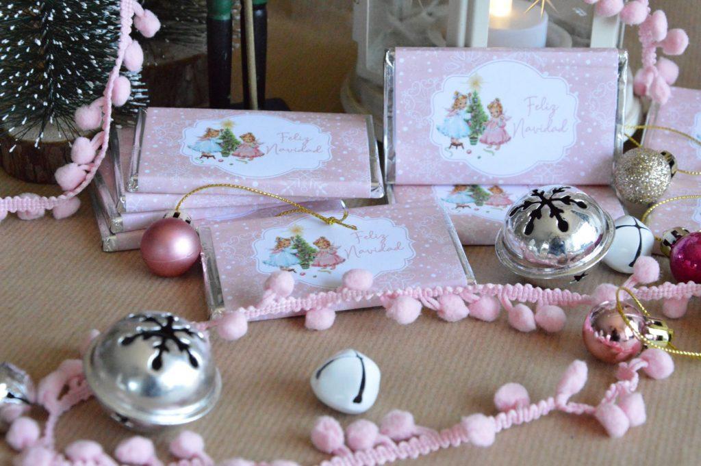 chocolatinas personalizadas navidad rosa vintage