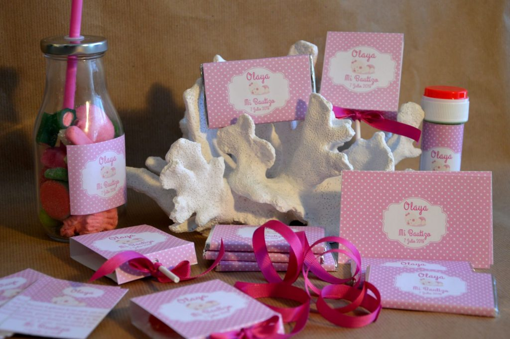 chocolatinas personalizadas bautizo piruletas rosa y verde