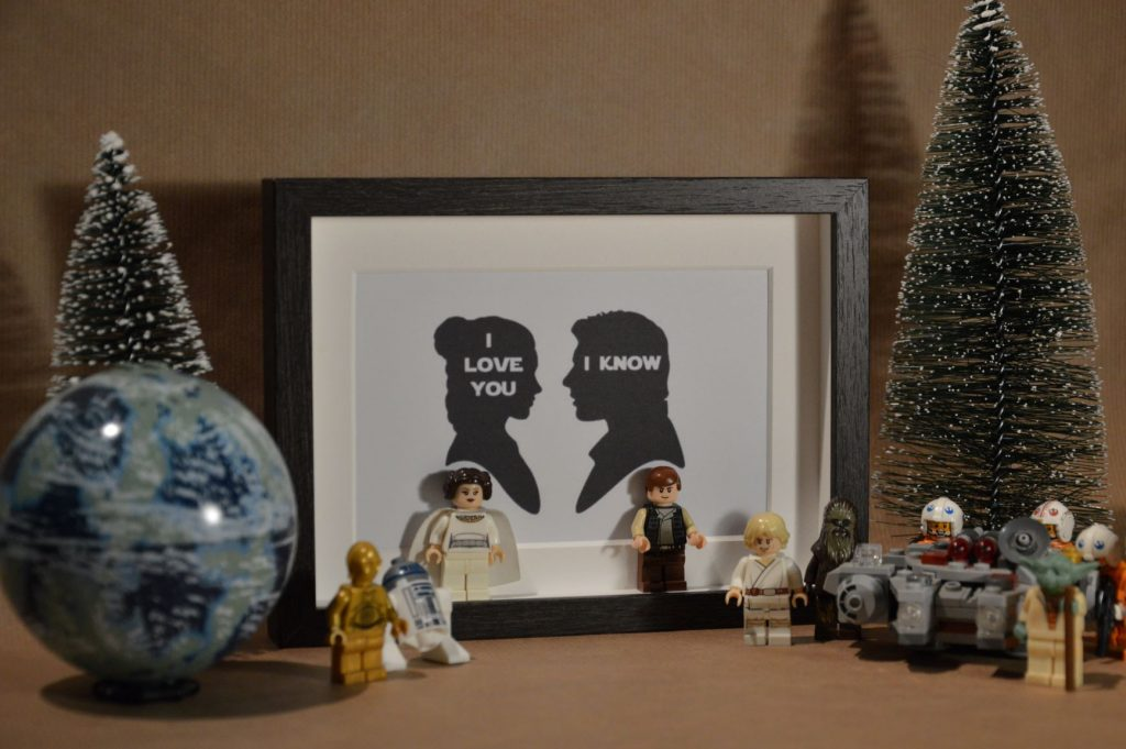 Cuadros de lego san valentín star wars han solo y princesa leia i love you i know