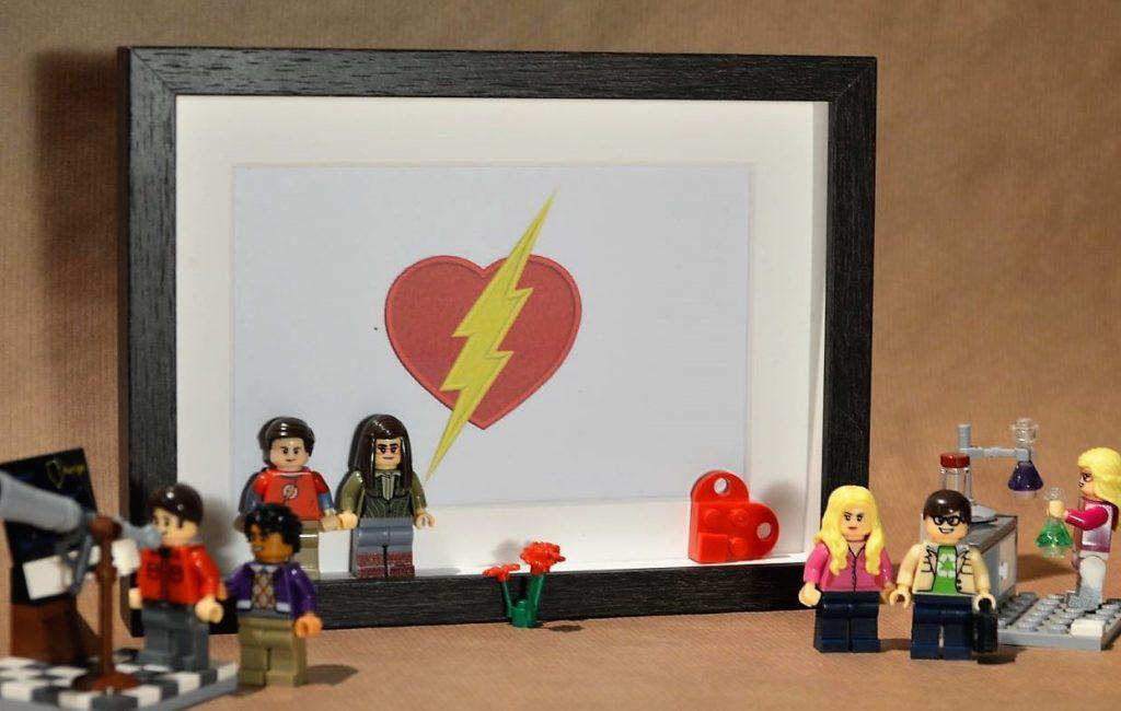 Cuadros de lego san valentín regalo de los enamorados sheldon y amy big bang theory