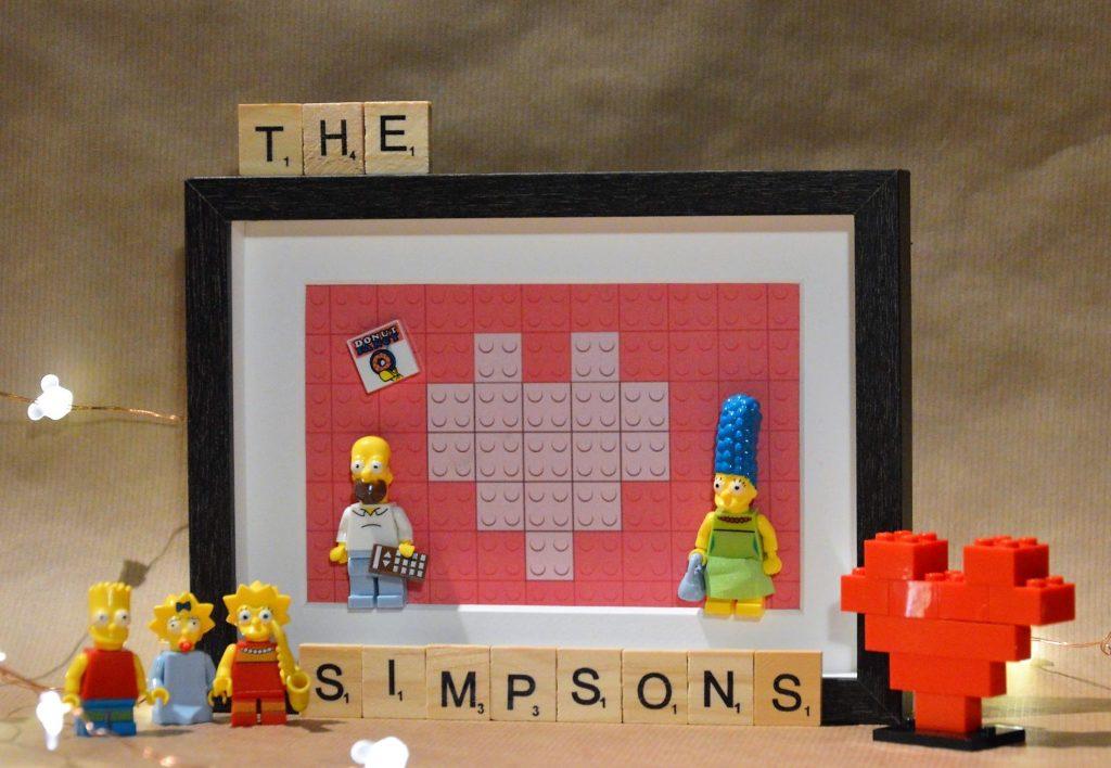 Cuadros de lego san valentín los simpsons hommer y mars