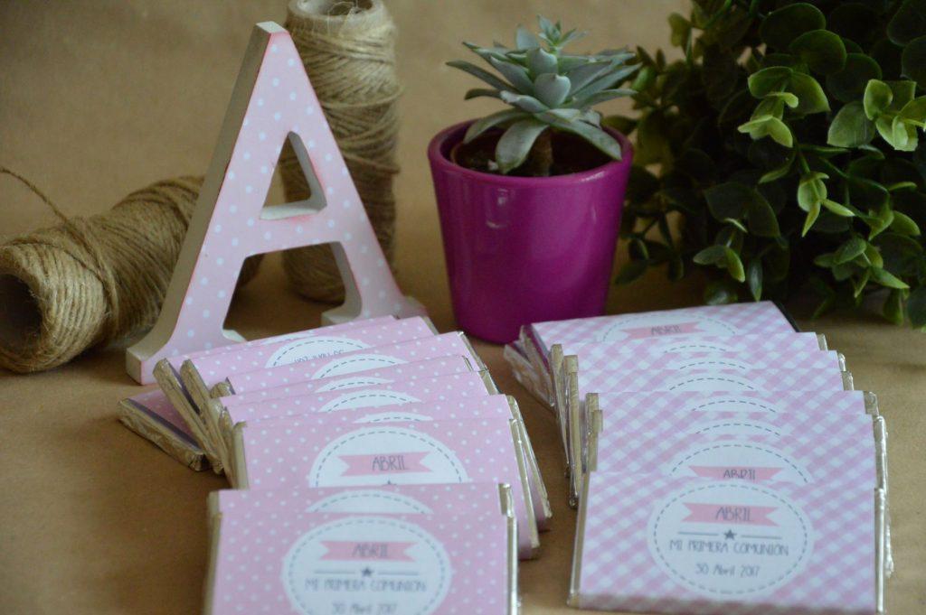 Chocolatinas personalizadas primera comunion rosas con mariposas