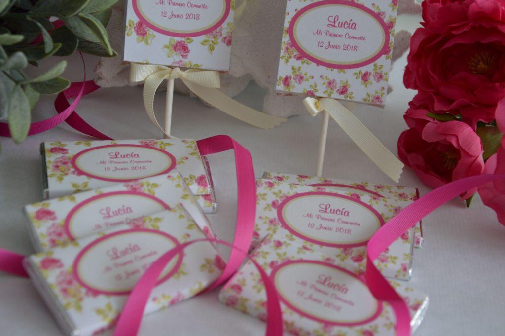 Chocolatinas personalizadas primera comunion florales rosa y crudo