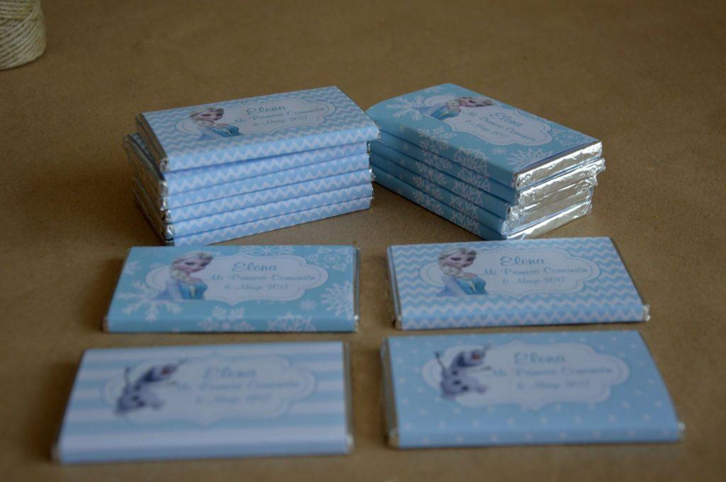 Chocolatinas personalizadas primera comunión Frozen princesas disney azul y blanco