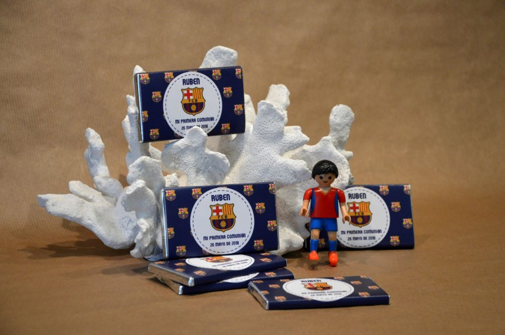 Chocolatinas personalizadas primera comunión barcelona futbol barça