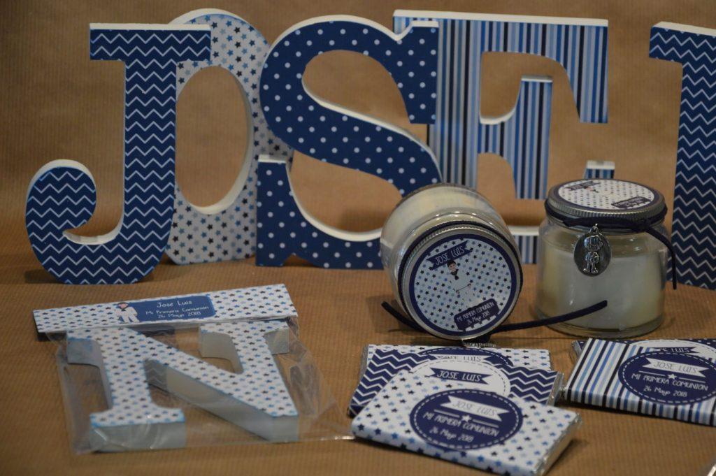Chocolatinas personalizadas primera comunión azul estrellas y rayas