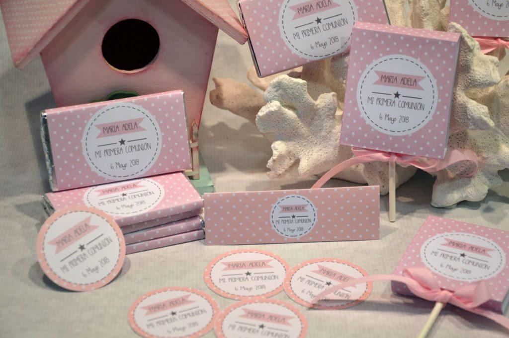 Chocolatinas personalizadas primera comunion rosas y blanco topitos