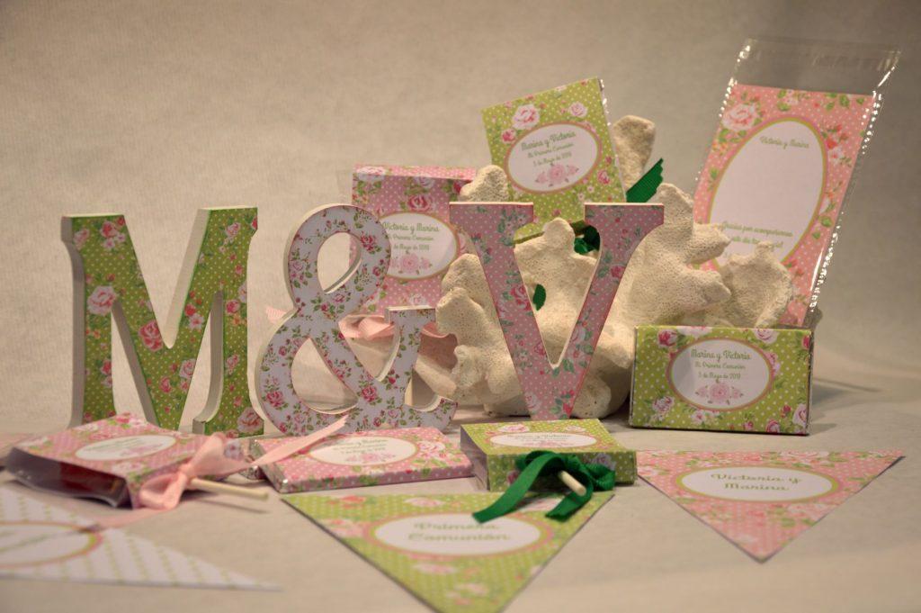 Chocolatinas personalizadas primera comunion estampado de flores rosa y verde