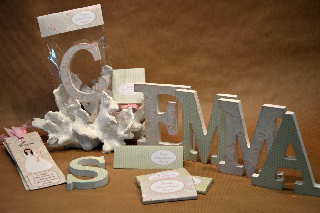 Chocolatinas personalizadas primera comunion letras decoradas y letras detalle coordinado