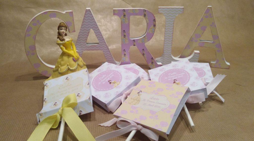 Piruletas personalizadas primera comunión Rosa y amarillo La bella y la bestia princesas disney
