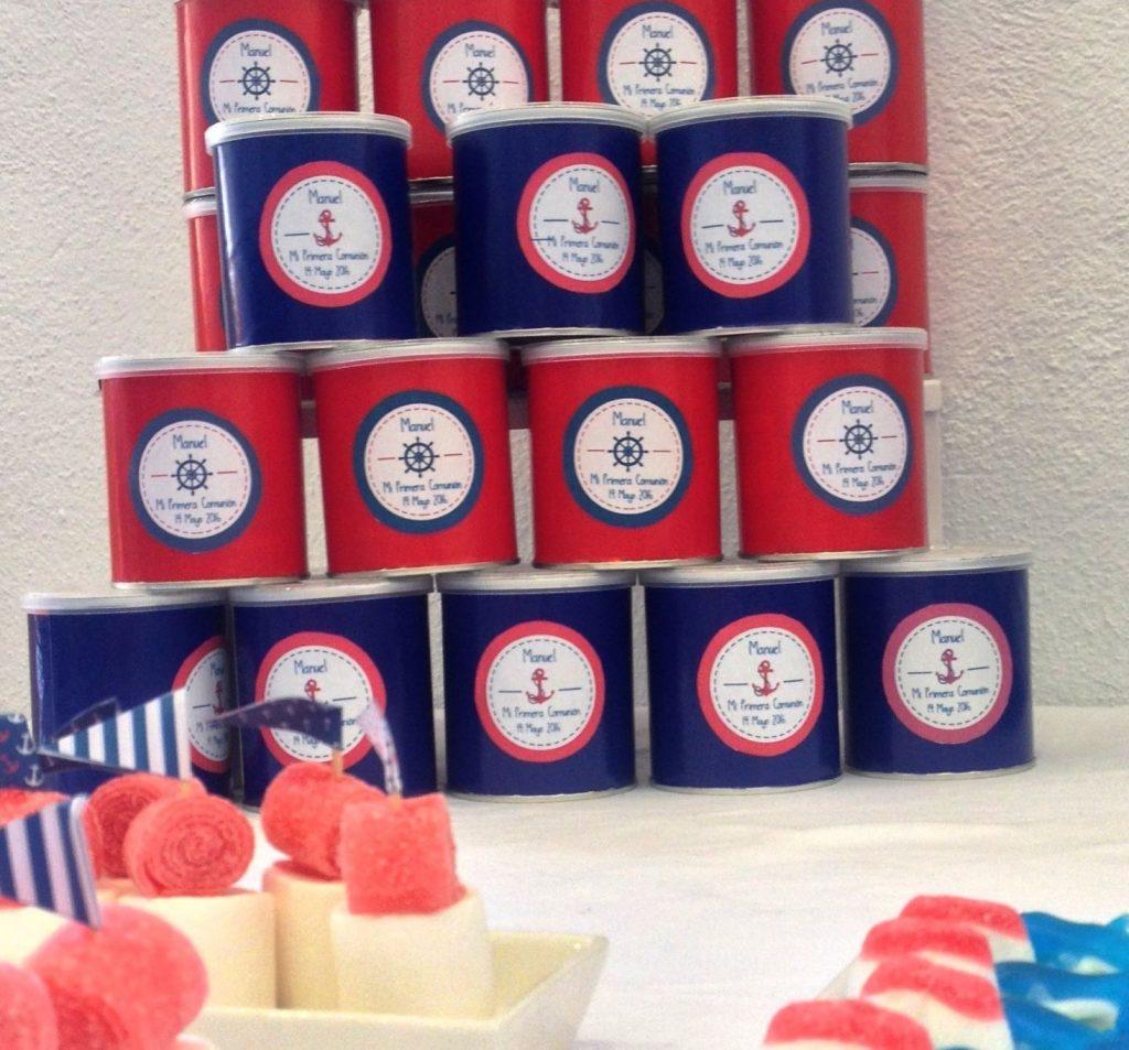 Chocolatinas personalizadas primera comunión marineras azul y rojo botes pringles
