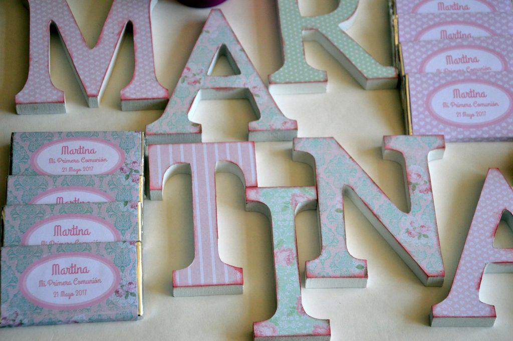 Chocolatinas personalizadas primera comunion rosa y verde floral