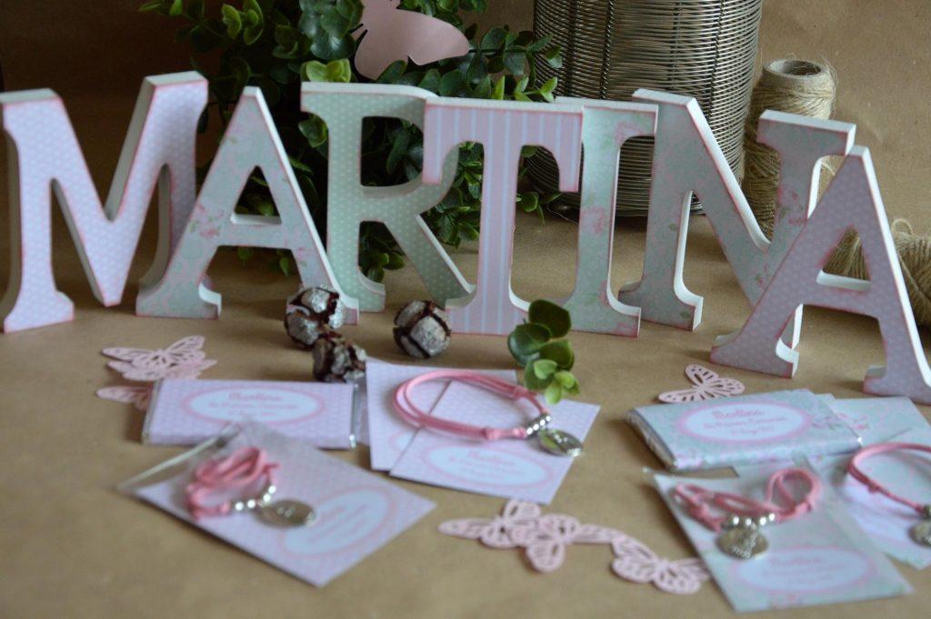 Letras decoradas primera comunion rosa y verde floral