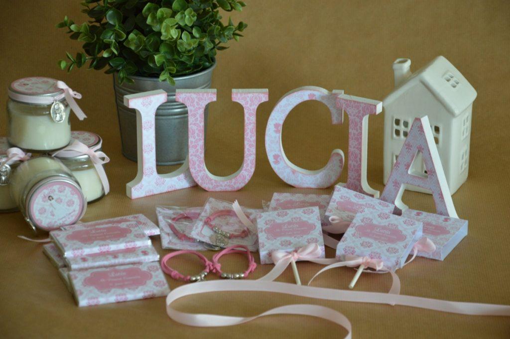 Chocolatinas personalizadas primera comunion estampado adamascado rosa y blanco