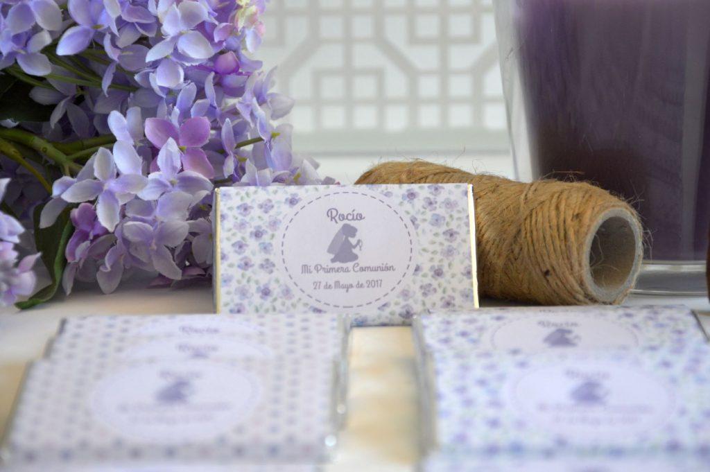 Chocolatinas personalizadas primera comunión lila
