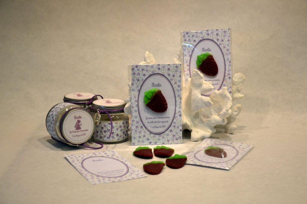 tarjetas de agradecimiento con chuche primera comunión lila
