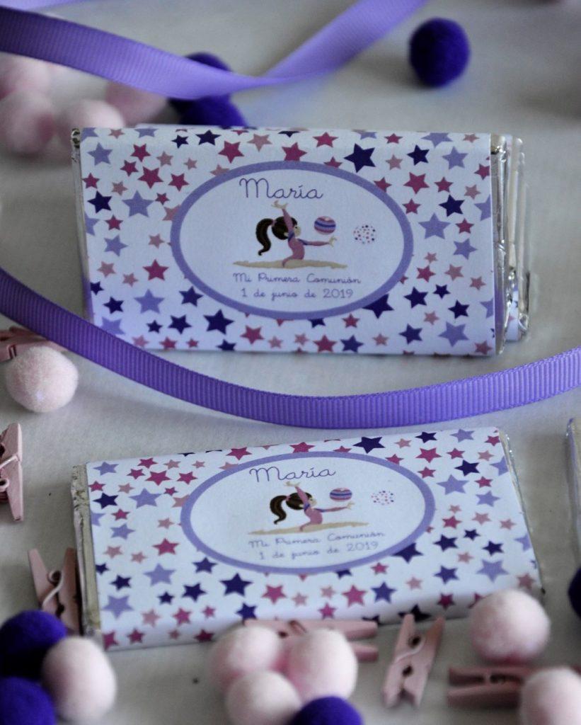 chocolatinas personalizadas primera comunión gimnasia rítmica
