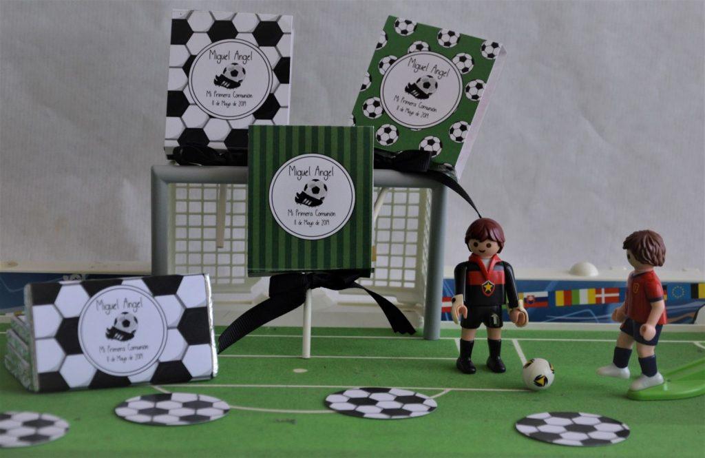 Primera comunión de fútbol piruletas y chocolatinas