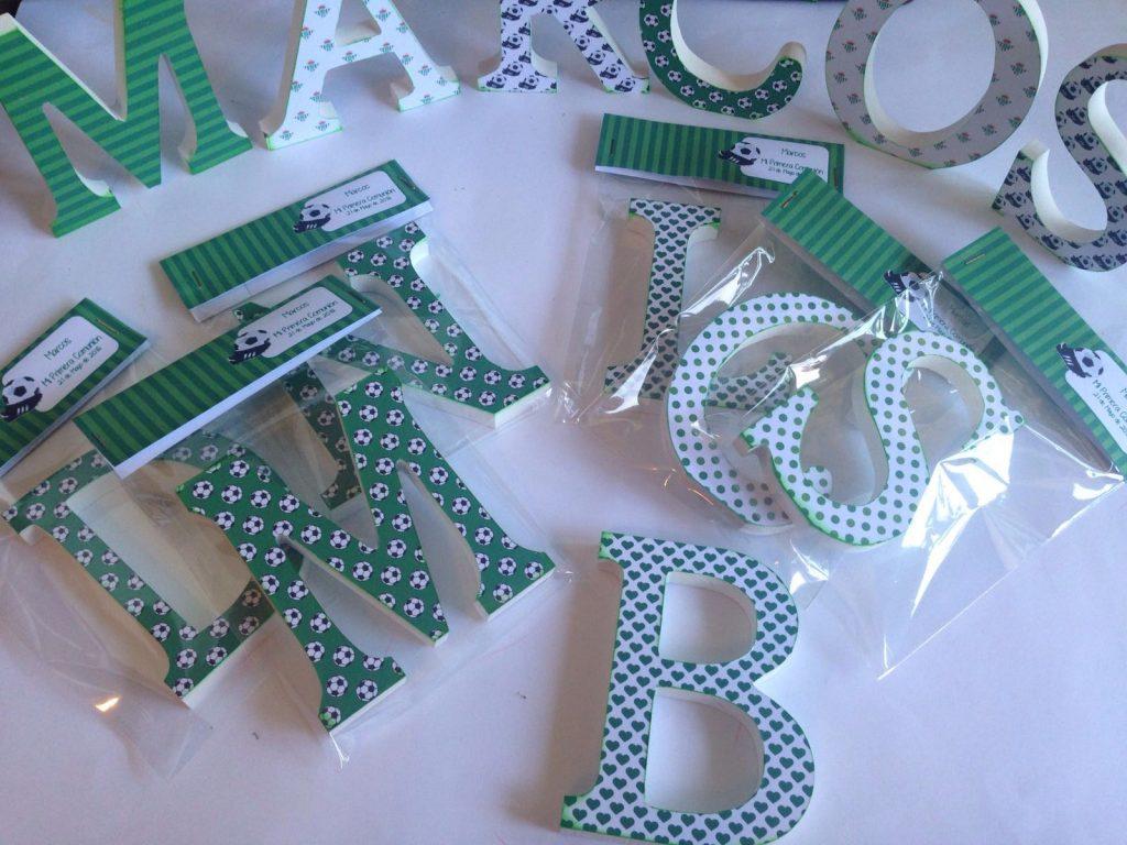 Primera comunión de fútbol Betis letras decoradas detalles invitados