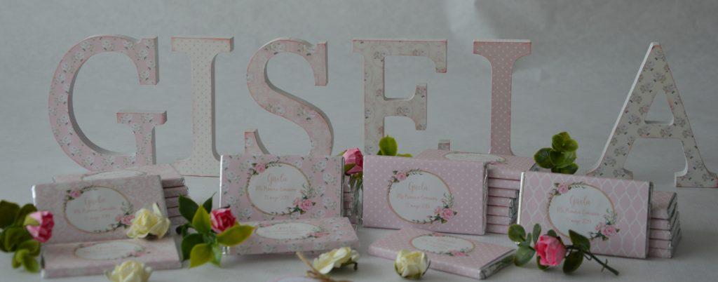 letras decoradas primera comunion rosa shabby chic