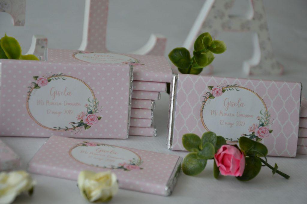chocolarinas personalizadas primera comunion rosa shabby chic