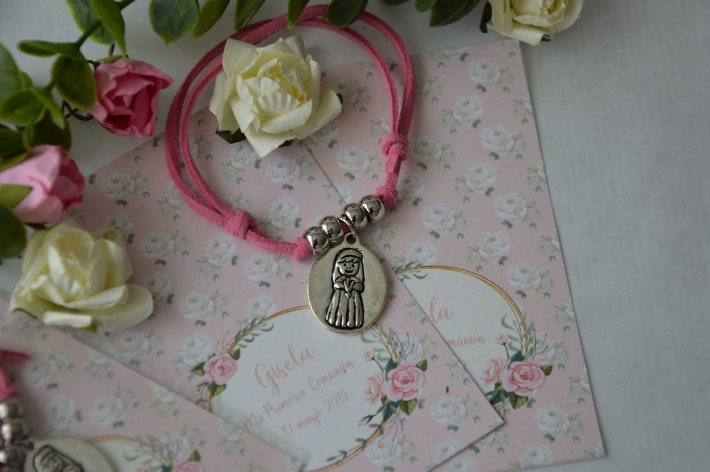 pulseras detalles invitados primera comunion rosa shabby chic